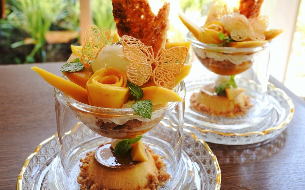 神戸一の映えプリン!! マンゴーの薔薇に舞い降りる蝶!美味しさも楽しさもメゾネットなプリンは『洋食屋神戸デュシャン』にあり