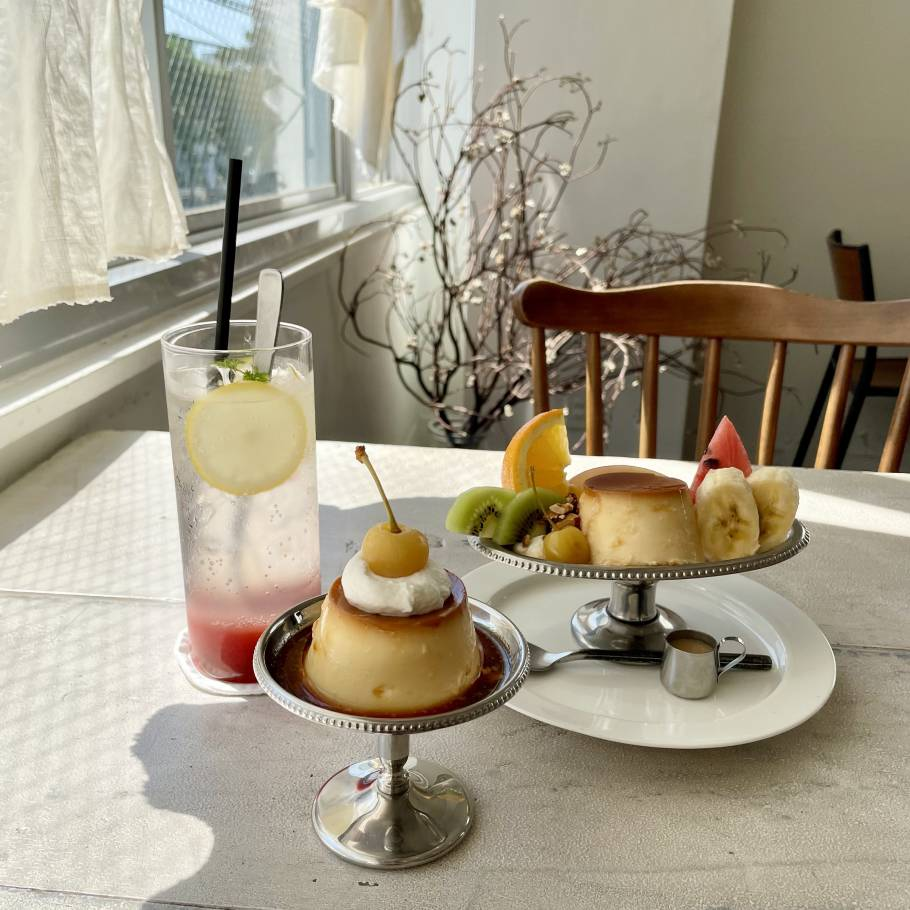 黄色いさくらんぼが可愛い♪福岡のカフェ『くらすこと』のプリン